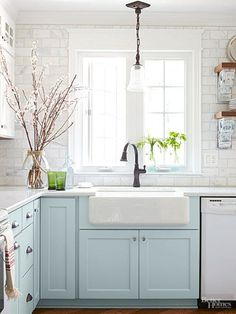Cozy cottage style decor ideas. Dagmar's Home, DagmarBleasdale.com #cozy #cottage #style #kitchen #farmhouse #sink #babyblue