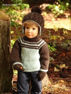 Hand Knit Sweater, Ear-flap Hat & Mitts for Kidz n Cats dolls by Debonair Designs