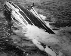 Sinking of the liner SS Andrea Doria, the pictures being taken from an airplane flying at a height of 75 feet nine minutes before the ship sank. (The second picture in the sequence is cited as the key photograph.) By Harry A. Trask of Boston Traveler.