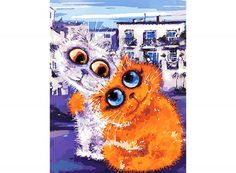 Раскраска по номерам «Городские коты» Бориса Касьянова