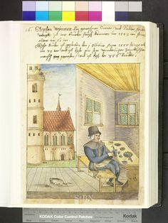 Needlemaker with cat 1554  Die Hausbücher der Nürnberger Zwölfbrüderstiftungen