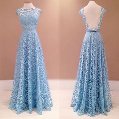 Simple Prom Dresses, lace prom dresses blue prom dress modest prom gown a line prom gown evening dress backless evening gowns party gowns LBridal Modest Prom Gowns, Backless Bridesmaid Dress, Backless Evening Gowns, A Line Prom Dresses, Formal Evening Dresses, Dress Formal, Formal Prom, Backless Dresses, Prom Long