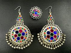 Vintage Afghan Kuchi Tribal Jewelry Set Ring Earrings Set Indian Ethnic jewelry Boho Gypsy Hippie Earring Ring Banjara Belly Dancing Jewelry by RareFindingsUS on Etsy