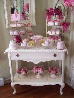 Pretty in Pink - Dessert Table Girls Tea Party, Tea Party Birthday, Idee Baby Shower, Vintage Tea Parties, Pretty In Pink, Perfect Pink, Tea Cart, Tea Trolley, Deco Retro