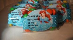 Ariel Little Mermaid Birthday party favors by angilee123 on Etsy, $12.50