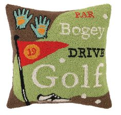 Golf inspired Suzanne Nicoll when she designed this Golf pillow with golf terms like bogey, par & drive. Golf Terms, Nautical Pillows, Den Ideas, Holiday 2014, Grad Parties, Gift Guide, Reusable Tote Bags, Room Decor, Throw Pillows