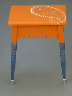 Orange and Blue Hand Painted Table.