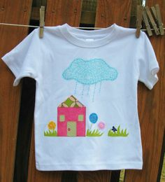 House and Flowers Applique on Girls's Short by sugarbumpscreations, $10.50