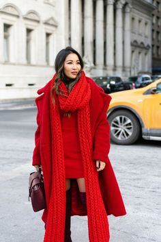 A full list of monochromatic outfits to bring cheer to cold winter days. From gray to red to blue, these colors make winter dressing so much fun! Winter Dresses, Winter Outfits, Wendy's Lookbook, Boating Outfit, Red Scarves, Colourful Outfits, Colorful, Ribbed Sweater, Winter Wear