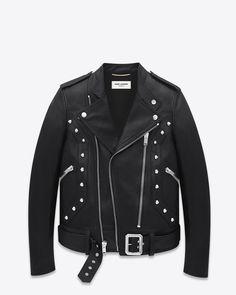 Saint Laurent Studded Motorcycle Jacket In Black Leather | ysl.com