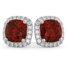 Allurez Halo Cushion Garnet & Diamond Earrings 14k White Gold (4.04... ($2,940) ❤ liked on Polyvore featuring jewelry, earrings, 14 karat gold earrings, garnet jewelry, 14k diamond earrings, 14k earrings and earring jewelry