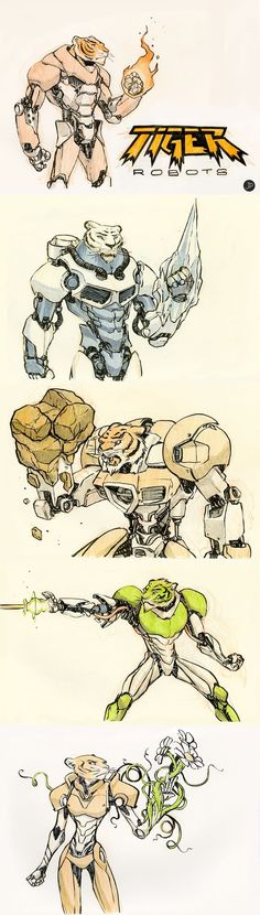 Tiger Robots! A collaborative project between me (the illustrator) and my four year old (the art director)
