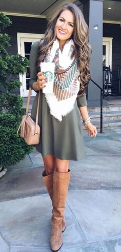 This green dress is so cute with this scarf and boots!