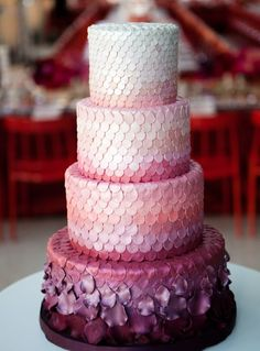 ombre pink and purple #Wedding #Cake