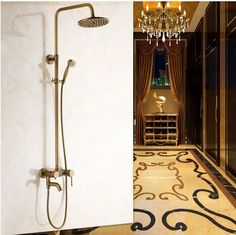 New arrival 2016 Antique Copper Shower Set High Quality Bronze Shower Head /Wall Mounted Bathroom Bathtub Faucet+Handheld Shower