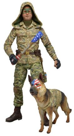 Colonel Stars and Stripes (Hood Up) Figure from Kick Ass 2, NECA 12124 Colonel Stars and Stripes (Hood Up) Figure from Kick Ass 2. It is made by NECA and is approximately 15 cm (5.9 in) high    Comes with pick axe handle and Eisenhower the dog accessories.  From the highly anticipated sequel to the cult comic book movie comes this second assortment of highly detailed, poseable action figures. Series 2 includes Unmasked Hit-Girl featuring interchangeable heads, Armored Kick-Ass with…