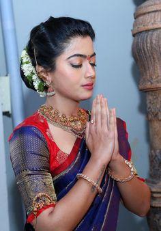 Indian Actress Rashmika Mandana Photos In Traditional Blue Saree - Indian Saree Collection Beautiful Girl Photo, Beautiful Girl Indian, Most Beautiful Indian Actress, Beautiful Women, Half Saree Designs, Saree Blouse Designs, Sari Blouse, South Indian Actress Hot, South Actress