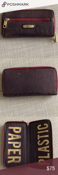 Rebecca Minkoff purple & gold leather zip wallet Rebecca Minkoff purple zip around leather wallet with gold hardware. Paper / Plastic written in gold inside. Gently used with signs of wear shown in pictures. Rebecca Minkoff Bags Wallets