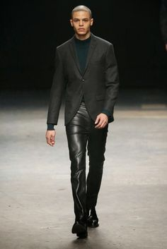Tiger of Sweden fall - winter 2015. Grey Wool jacket. Cashemire sweeter  Black Leather pants. Boots.