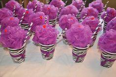 Spa Party Favors- Could include a lipgloss, FOE hairtye, nailpolish, loofah, and small body wash