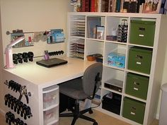 #papercraft #crafting supply #organization. Ikea expedit desk/shelf workstation. by Julia Rosewale
