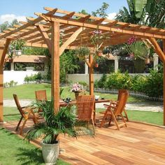 Pergola modern bois is a French word refers to modern bois pergola. You can create a stunning focal point in your backyard with a gazebo or pergola. Diy Pergola, Building A Pergola, Wood Pergola, Pergola Canopy, Pergola With Roof, Cheap Pergola, Covered Pergola, Outdoor Pergola, Pergola Ideas