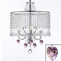 Gallery T40-37 Contemporary 3-Light Crystal Swag Plug-In Chandelier This contemporary 3-light crystal chandelier by Gallery has a chrome finish. For use