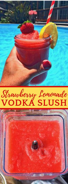 STRAWBERRY LEMONADE VODKA SLUSH drink appetizer is part of food_drink - Strawberry lemonade vodka slush is a fruity, reviving beverage So ideal for summer! Who doesn't love a slushy mixed drink This strawberry lemo… Liquor Drinks, Vodka Drinks, Frozen Drinks, Drinks Alcohol Recipes, Fun Drinks, Healthy Drinks, Beverages, Frozen Lemonade, Healthy Nutrition