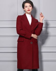 #AdoreWe BAOYAN Solid Red Woollen Turndown Collar Shift Long Coat - AdoreWe.com
