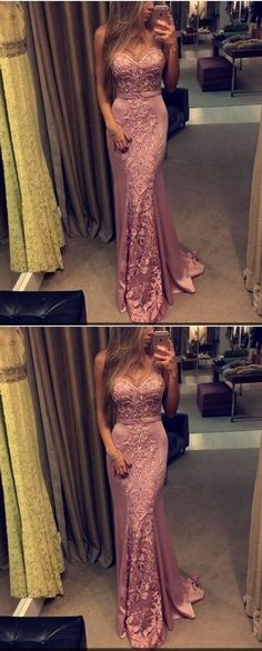 cute blush prom dress with lace appliques, sweetheart sweep train party dress with bowkont