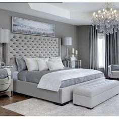elegant master bedroom decor with upholstered headboard and white bedding, chandelier in bedroom decor, seating area in master bedroom, neutral bedroom design, traditional bedroom furniture Simple Bedroom Design, Simple Bedroom Decor, Luxury Bedroom Design, Master Bedroom Design, Home Decor Bedroom, Modern Bedroom, Bedroom Designs, Bedroom Furniture, Contemporary Bedroom