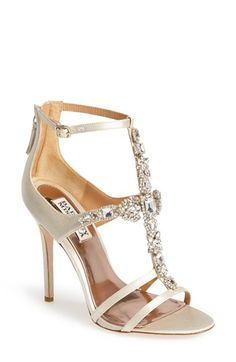 These are PERFECT for my wedding dress!! Badgley Mischka 'Giovanna II' Satin Ankle Strap Sandal (Women) available at #Nordstrom
