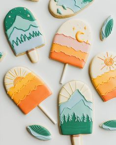 """Mik & Cookies Co. on Instagram: """"Summer days and summer nights ☀️🏜⛰🌙⭐️ cookies inspired by @positivelypresent & @lunaandlowe 🌈  this season, for us, is usually all about…"""" Cookie Icing, Royal Icing Cookies, Sugar Cookies, Main Food Groups, Instagram Summer, Trophy Wife, Cookie Designs, Edible Art, Creative Cakes"""