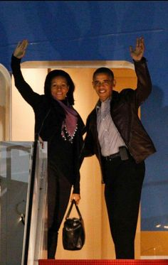 The Obamas. Air Force One
