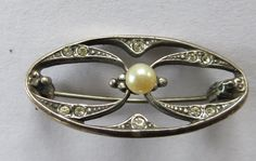 Vintage 1920's? Art Deco style sterling silver pearl marcasite stamped 925 pin brooch (29.99 USD) by CatttywampusVintage