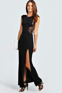 Maddie Lace Back Front Thigh Split Maxi Dress at boohoo.com