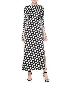 Calvin Klein Collection Polka Dot Cape-Sleeve Gown, Black