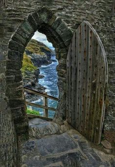 """""""Beyond the Portal"""". View to the sea from Tintagel Castle wall, Cornwall, England,UK, by Photographer Keith Lancaster."""