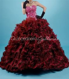 Lots of ruffles and jeweled bodice on this quinceanera dresses