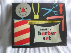 VINTAGE 1950'S SMALL FRY BARBER SET FOR BOYS - COMPLETE - PRESSMAN TOY CORP #ClothingAccessories