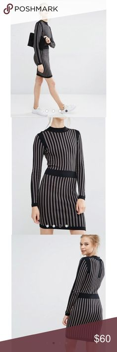 NWOT ASOS Striped Knit Dress ASOS long sleeve knit sweater dress. There is some stretch to the material. Color is black and gray. Size medium. Never worn. NWOT. Fits true to size. ASOS Dresses Long Sleeve