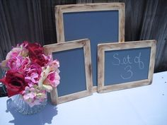 SET OF 3 Rustic Distressed Chalkboards for Signs and Table Numbers or Photo Props,Great for backyard Reception - Item 1215 http://www.etsy.com/listing/77110277/set-of-3-rustic-distressed-chalkboards?ref=sr_gallery_1=_search_query=chalkboard_view_type=gallery_ship_to=AU_spelling_corrected=chlakboard_search_type=handmade_facet=handmade