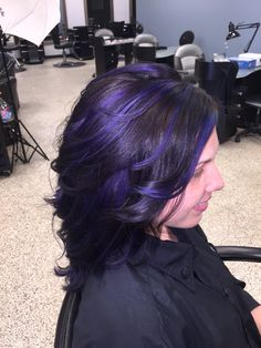 Purple, Blue, and Teal Balayage on black hair!  Hair by Mandy Young.  https://www.facebook.com/MandyYoungHairstylist