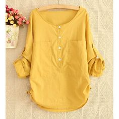 Simple Style Scoop Neck Solid Color Pockets Long Sleeve Women's Blouse, YELLOW, L in Blouses | DressLily.com