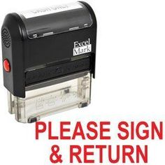 PLEASE SIGN and RETURN Self Inking Rubber Stamp - Red Ink (42A1539WEB-R)