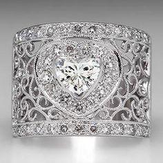Heart Diamond Wide Band Ring Filigree 18K White Gold - EraGem  $4729.00