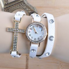 ladies leather cross combination wrap watch