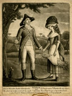 """""""Palemon and Lavinia"""". A young man wearing a tricorn and frock coat standing on the left, gazing up and holding the hand of a woman in rustic dress who carries corn in her apron; tree and hay field in the background. 1782, mezzotint with some etching."""