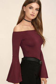 2ee162f38ea67 Choose the Flirt Factor Wine Red Off-the-Shoulder Top to bring instant  allure