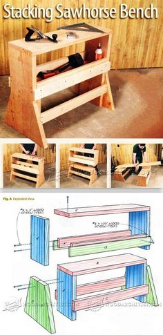 Stacking Sawhorse Bench - Workshop Solutions Plans, Tips and Tricks | WoodArchivist.com